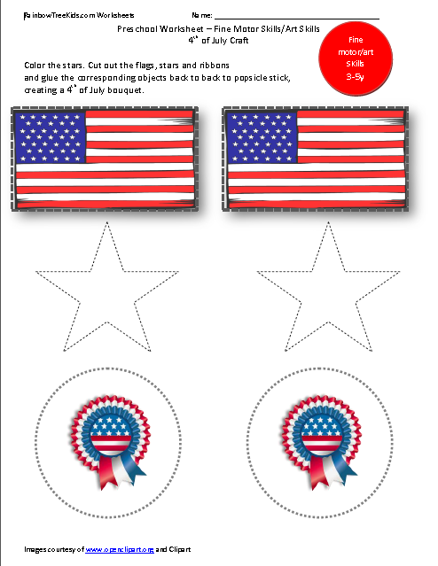 4th of July Worksheets Prek