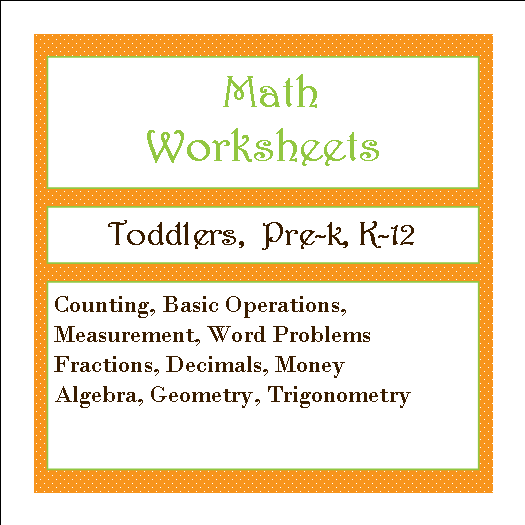 math worksheets button
