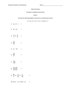 Math Worksheet-evaluation of algebraic expressions 1 (1)gr7-page-001
